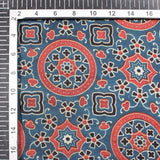 Prussian Blue And Mahogany Red Traditional Pattern Ajrakh Screen Print Viscose Modal Satin Fabric