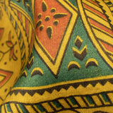 Dijon Yellow And Dark Green Geometric Pattern Ajrakh Screen Print Viscose Modal Satin Fabric