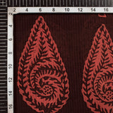 Dark Purple And Red Leaf Pattern Handblock Natural Dye Zari Bordered Bagh Print Maheshwari Silk Fabric