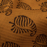 Gold Yellow And Black Paisley Pattern Handblock Natural Dye Zari Bordered Bagh Print Maheshwari Silk Fabric