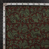Green And Black Paisley Pattern Handblock Natural Dye Zari Bordered Bagh Print Maheshwari Silk Fabric
