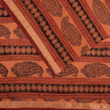 Orange And Black Paisley Pattern Handblock Natural Dye Zari Bordered Bagh Print Maheshwari Silk Fabric