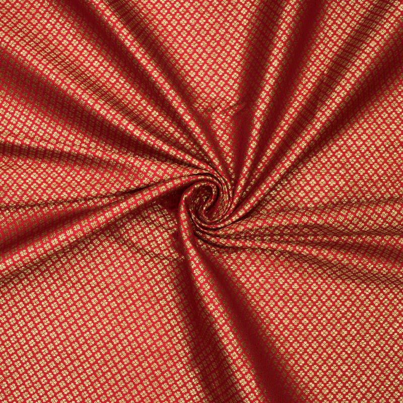 Red Booti Pattern Zari Jacquard Banarasi Brocade Silk Fabric