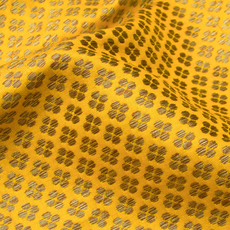 Yellow Booti Pattern Zari Jacquard Banarasi Brocade Silk Fabric