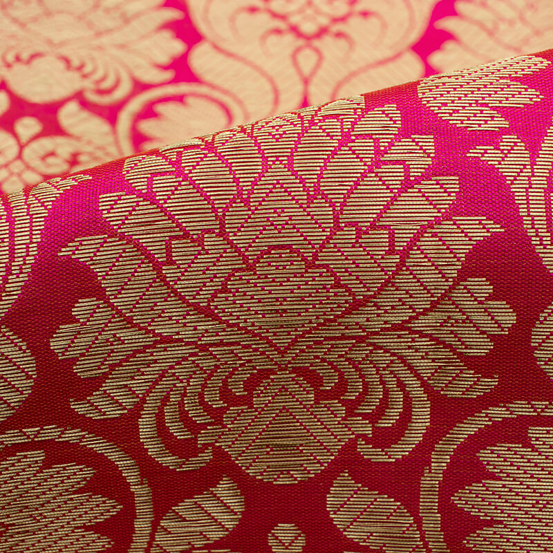 Fuchsia And Purple Ethnic Pattern Zari Jacquard Bordered Banarasi Brocade Silk Fabric