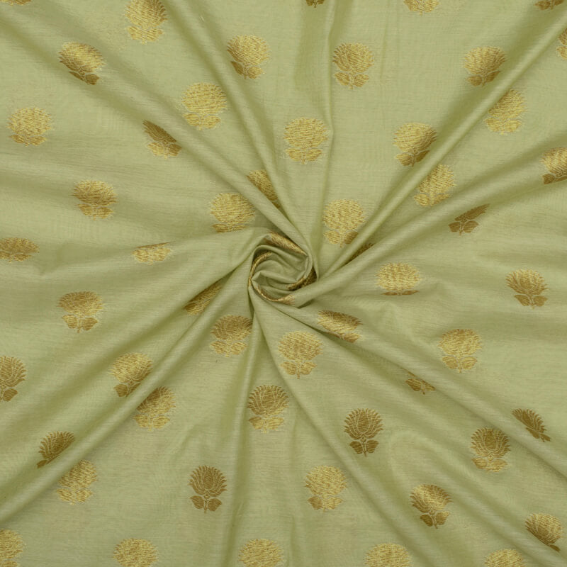 Light Pistachio Green Floral Pattern Zari Jacquard Banarasi Chanderi Fabric