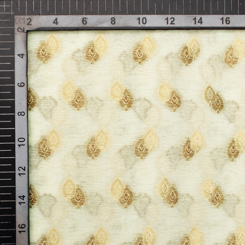 Off White Leaf Pattern Zari Jacquard Banarasi Dyable Chanderi Fabric