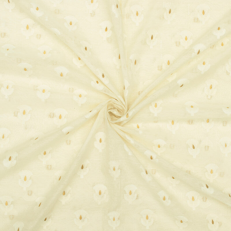 Off White Booti Pattern Zari Jacquard Banarasi Dyable Chanderi Fabric