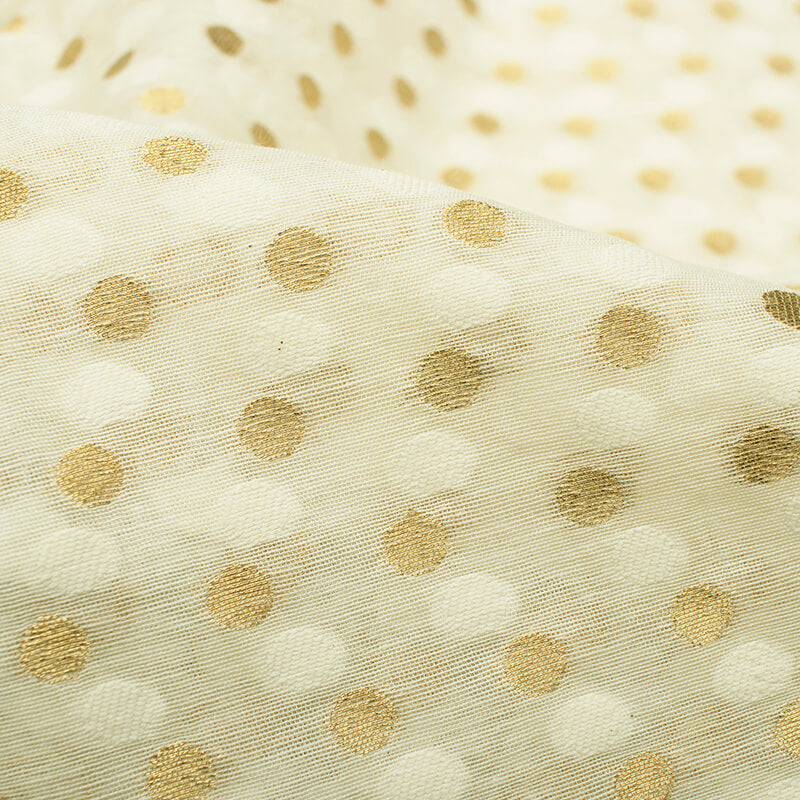 Off White Geometric Pattern Zari Jacquard Banarasi Dyable Chanderi Fabric