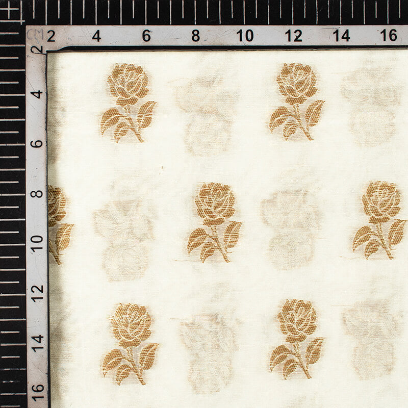 Off White Floral Pattern Zari Jacquard Banarasi Dyable Chanderi Fabric