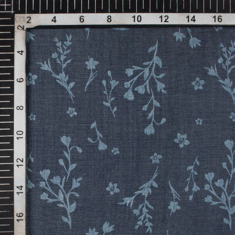 Indigo Blue Floral Pattern Dual Tone Tensile Denim Fabric (Width 60 Inches)
