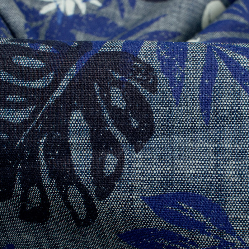 Indigo Blue And White Floral Pattern Tensile Denim Fabric (Width 60 Inches)