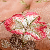 Peach And Pink Floral Pattern Embroidery Chinnon Chiffon Fabric