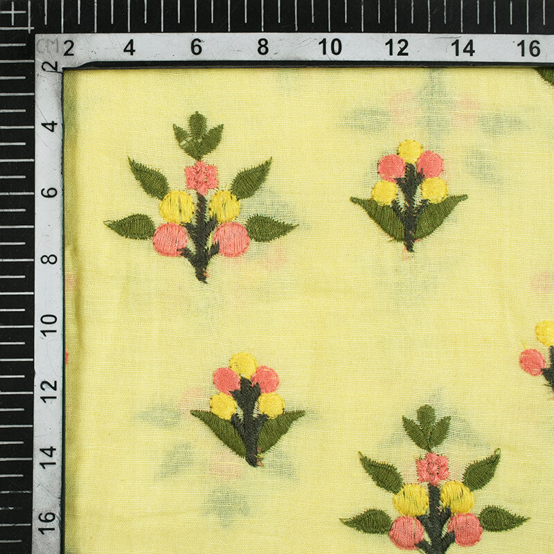 Light Yellow And Pickle Green Floral Pattern Embroidery Cotton By Linen Fabric - Fabcurate