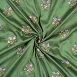 Pickle Green And Grey Floral Pattern Embroidery Glaze Cotton Fabric