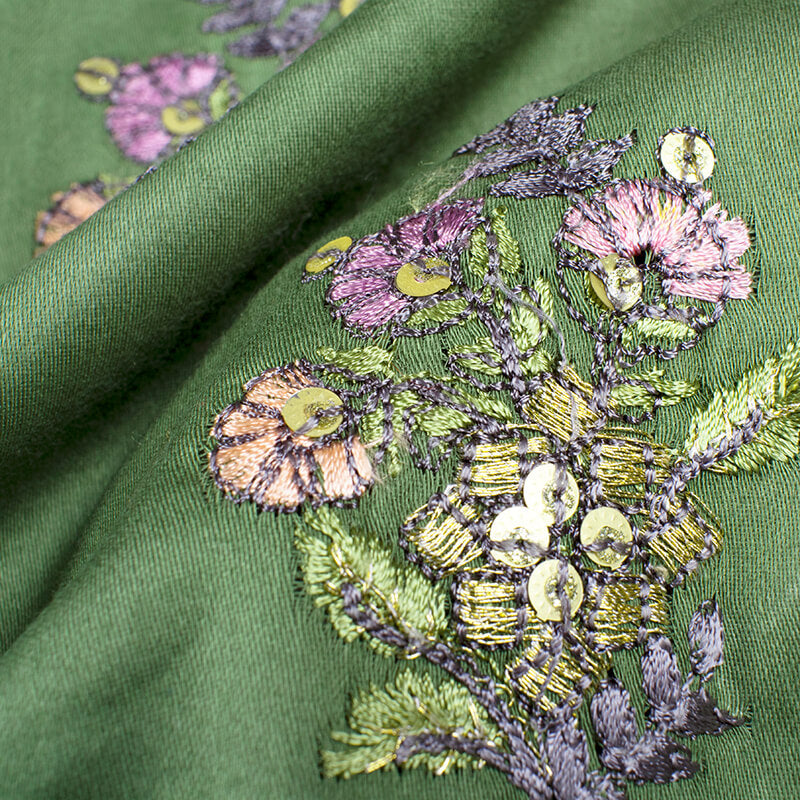 Pickle Green And Grey Floral Pattern Embroidery Glaze Cotton Fabric - Fabcurate