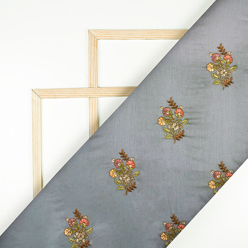Grey And Brown Floral Pattern Embroidery Glaze Cotton Fabric