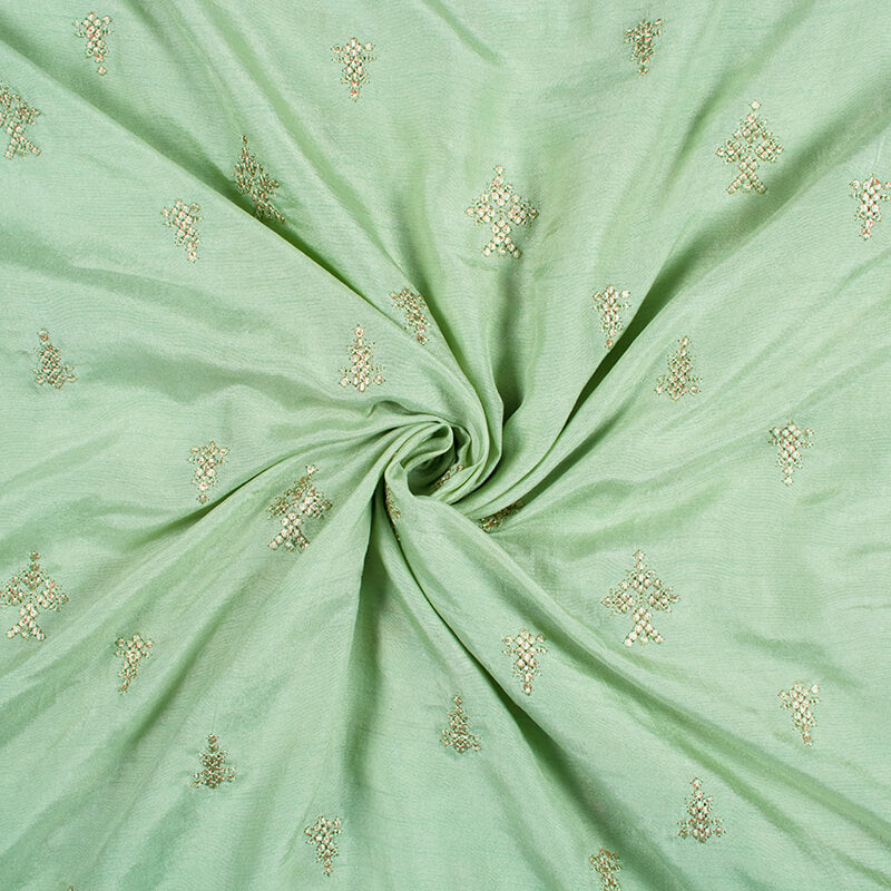 Pistachio Green Booti Pattern Embroidery Micro Modal Fabric - Fabcurate