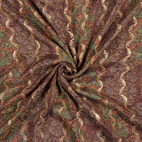 Brown And Red Floral Pattern Sequince Digital Print Muslin Fabric