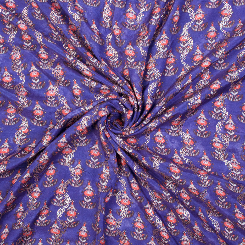 Berry Blue And Peach Floral Pattern Sequince Digital Print Muslin Fabric - Fabcurate