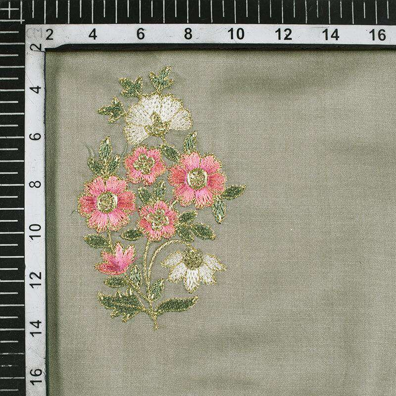 Seal Grey And Peach Floral Pattern Premium Embroidery Modal Satin Fabric