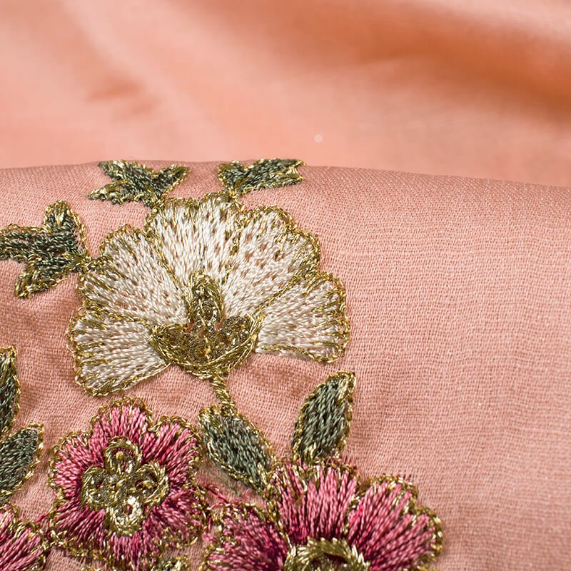 Salmon Peach And Pink Floral Pattern Premium Embroidery Modal Satin Fabric