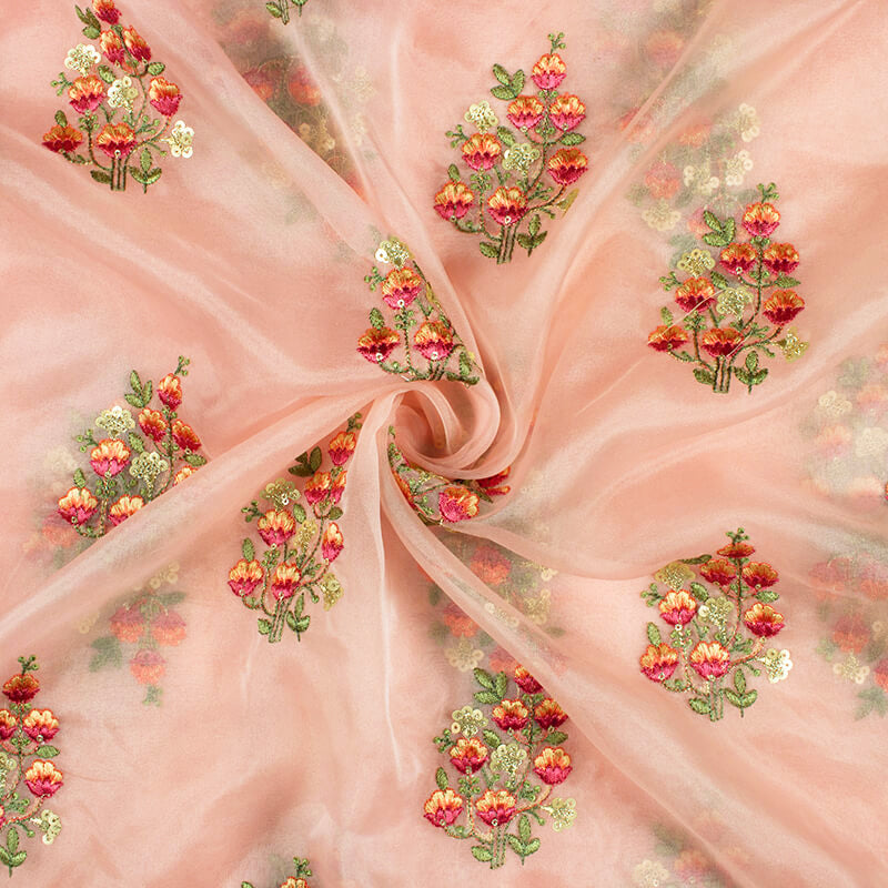 Salmon Peach And Pink Floral Pattern Embroidery Premium Organza Fabric - Fabcurate
