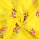 Yellow And Pink Floral Pattern Embroidery Premium Organza Fabric - Fabcurate