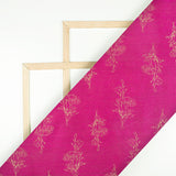 Fuchsia Floral Pattern Foil Print Art Silk Fabric - Fabcurate