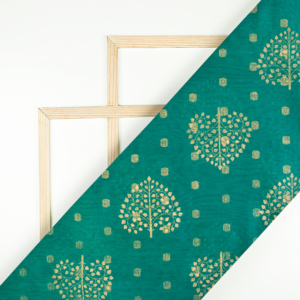 Peacock Green Mughal Pattern Foil Print Chanderi Fabric