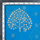 True Blue Mughal Pattern Foil Print Zari Borderd Chanderi Fabric - Fabcurate