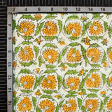 White And Merigold Yellow Floral Pattern Handblock Cotton Fabric