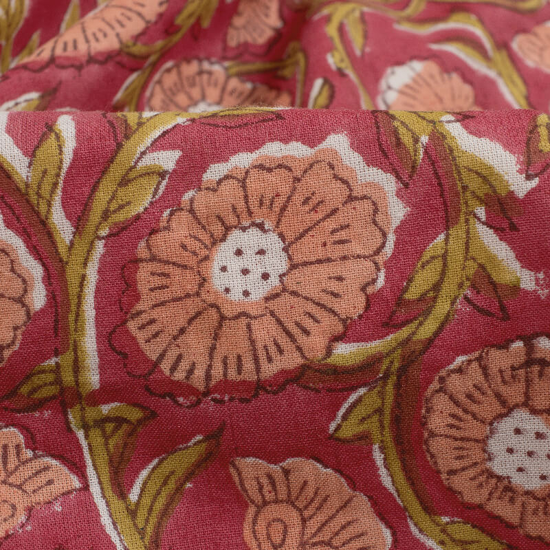 Blush Red And Peach Floral Pattern Handblock Cotton Fabric