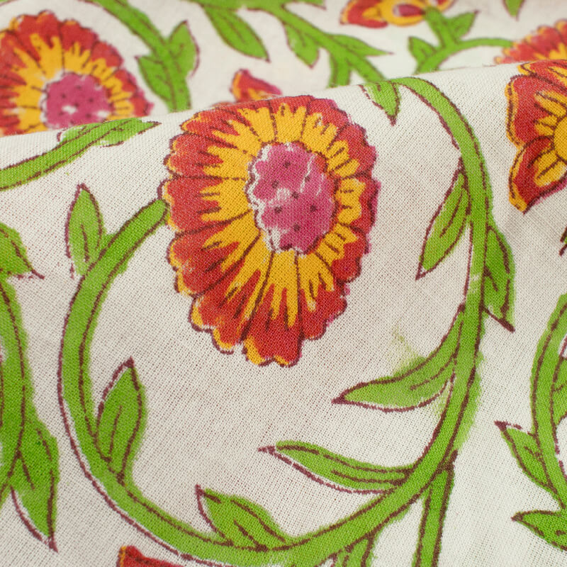 White And Parrot Green Floral Pattern Handblock Cotton Fabric