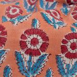 Coral Peach And Red Floral Pattern Handblock Cotton Fabric