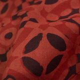 Red And Black Geometric Pattern Handblock Cotton Fabric - Fabcurate