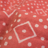 Salmon Orange And Off White Geometric Pattern Handblock Cotton Fabric