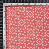 Coral Peach And Off White Geometric Pattern Handblock Cotton Fabric - Fabcurate