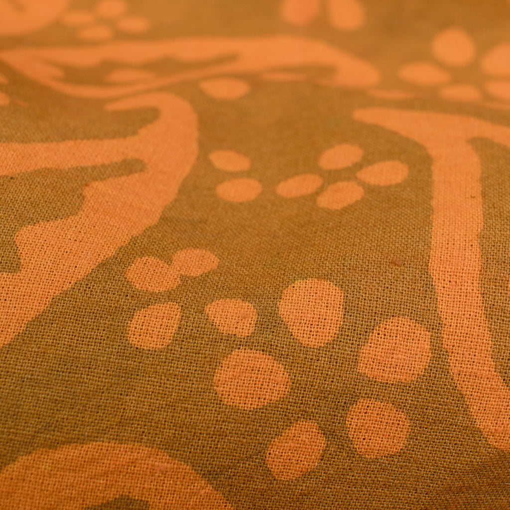 Orange And Brown Paisley Pattern Handblock Cotton Fabric