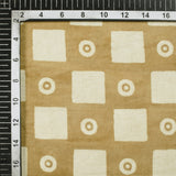 Peanut Brown And Off White Geometric Pattern Handblock Cotton Fabric - Fabcurate