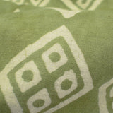 Moss Green And Cream Geometric Pattern Handblock Cotton Fabric - Fabcurate