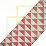Blush Red And And Cream Geometric Pattern Handblock Cotton Fabric