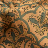 Mustard Yellow And Green Floral Pattern Handblock Natural Dye Cotton Fabric