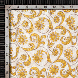 White And Mustard Yellow Floral Pattern Handblock Cotton Mulmul Fabric