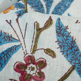 White And Dark Pastel Blue Floral Pattern Handblock Cotton Mulmul Fabric
