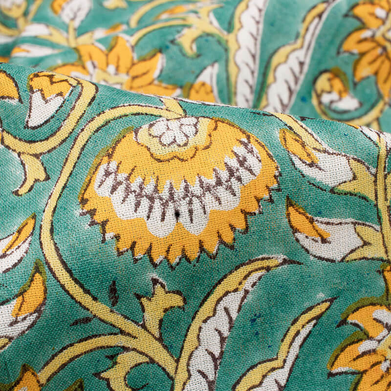 Light Green And Merigold Yellow Floral Pattern Handblock Cotton Mulmul Fabric