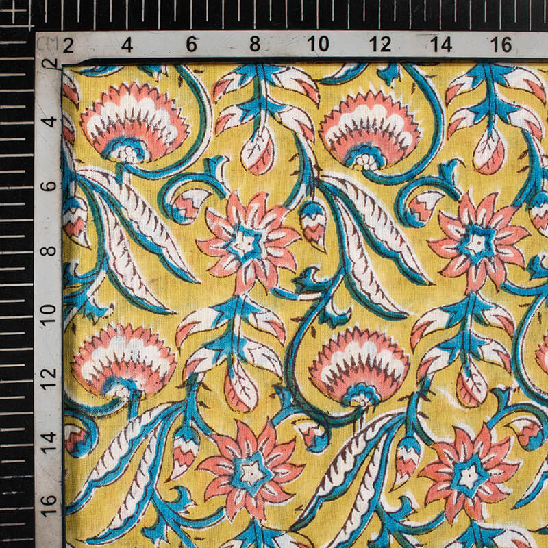 Dijon Yellow And Blue Floral Pattern Handblock Cotton Mulmul Fabric
