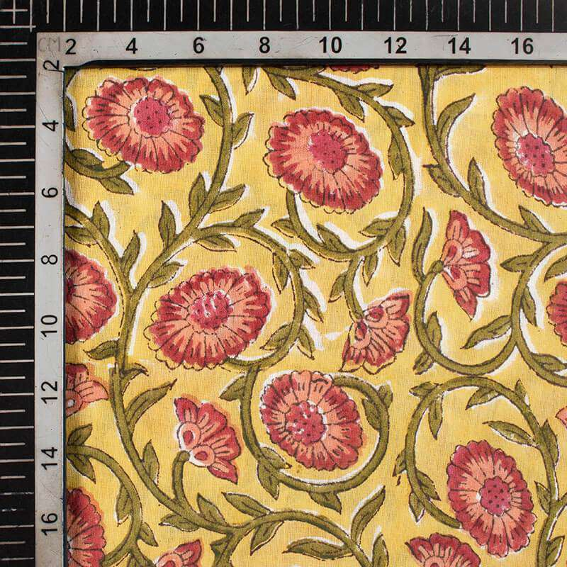 Melow Yellow And Army Green Floral Pattern Handblock Cotton Mulmul Fabric