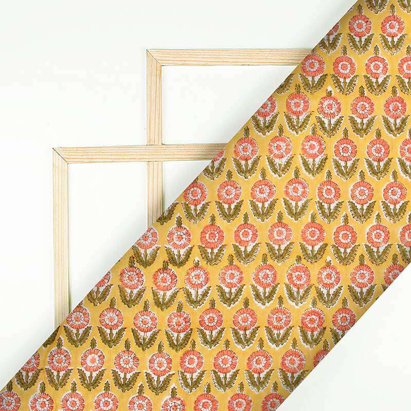 Melow Yellow And Peach Floral Pattern Handblock Cotton Mulmul Fabric