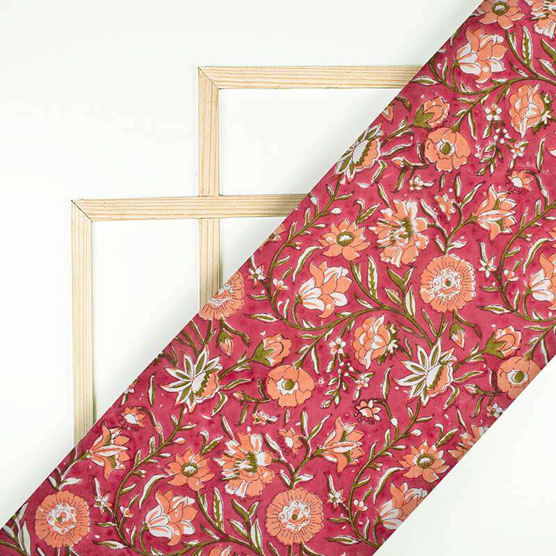 Red And Green Floral Pattern Handblock Cotton Mulmul Fabric